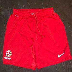 """Nike Poland soccer shorts sz """" large """""""